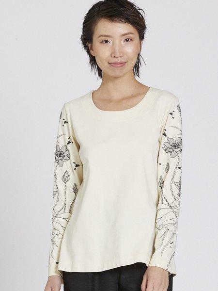 Plus Size Ivory Lycra Floral Crew Neck Long Sleeve T-Shirt