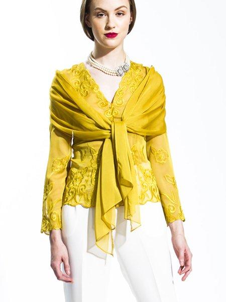 Gold-Color V Neck Casual Floral-embroidered Floral Top