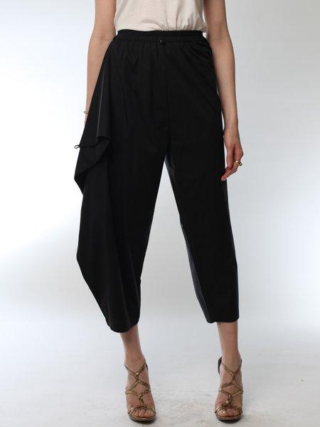 Black Elegant Asymmetrical Plus Size Track Pants