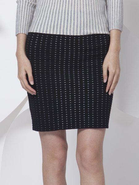 Black Wool Blend Casual Plain Mini Skirt