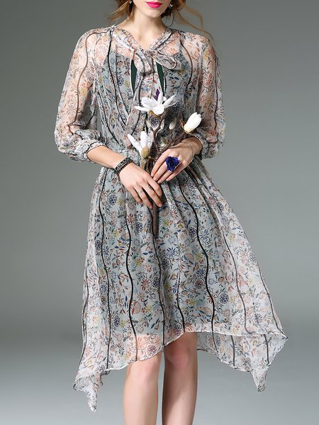 Multicolor Two Piece Floral Silk Long Sleeve Shirred Chiffon Dress