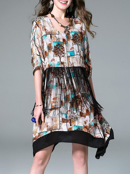 Multicolor Asymmetrical Silk Fringed Casual Printed Mini Dress