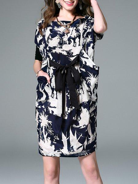 Navy Blue Silk Slash Neck Batwing Printed Midi Dress