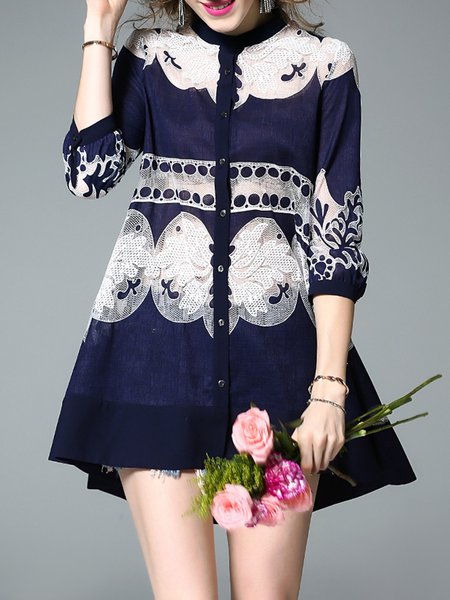 Dark Blue Vintage Style A-line Crew Neck Mini Dress