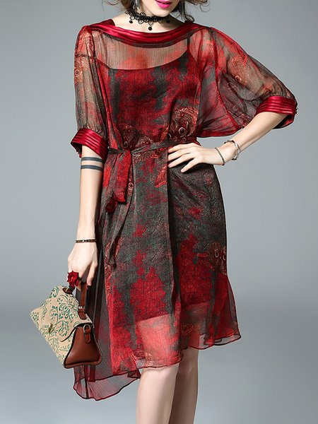 Red-black Midi Dress A-line Daily Half Sleeve Printed Dress