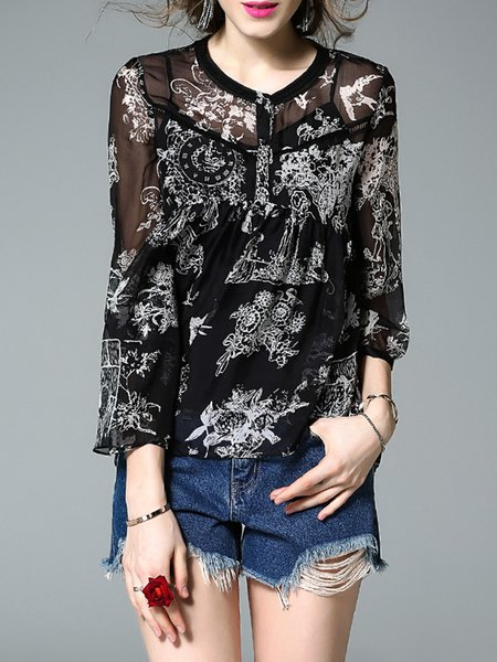 Long Sleeve Vintage Two Piece Floral Print Blouse