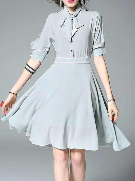 Half Sleeve Simple Stand Collar A-line Solid Shirt Dress