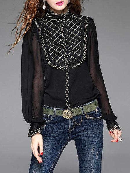 Tulle Paneled Black Elegant Bodysuit