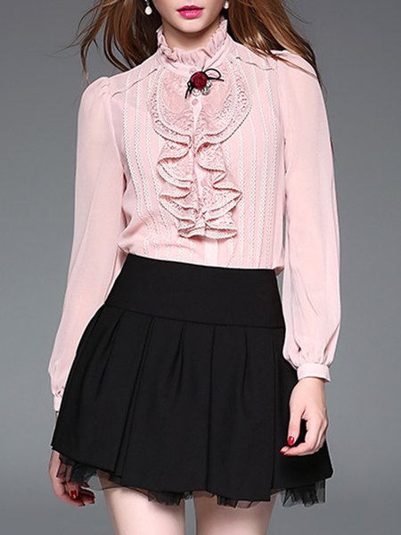 Pink Ruffled Paneled Elegant Beaded Brooch Blouse With Camis