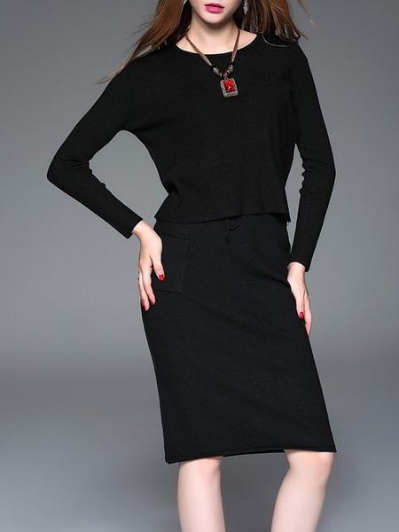 Black Long Sleeve Angora-blend Solid Two Piece Midi Dress