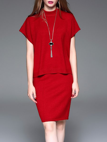 Red Casual Two Piece Angora-blend Turtleneck Midi Dress