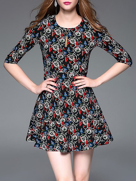 Black A-line Cotton-blend Printed Elegant Mini Dress