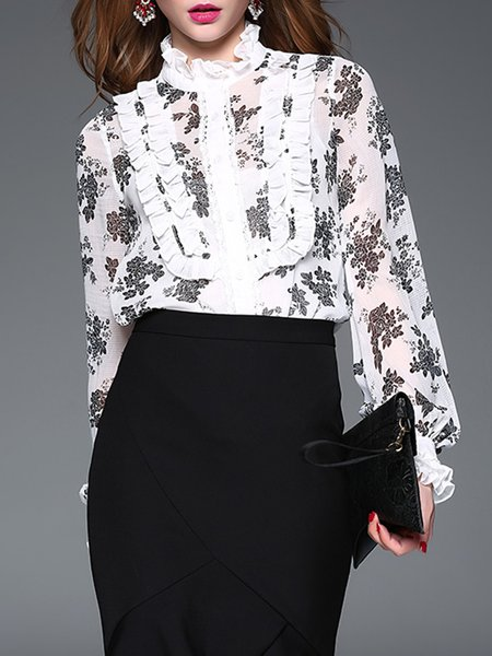 White Frill Sleeve Floral Bodysuit With Camis