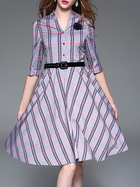 Cotton-blend Checkered Elegant Stand Collar Midi Dress With Belt