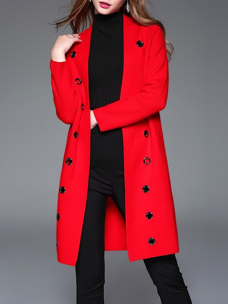 Black Solid Grommet Wool Blend Elegant Coat