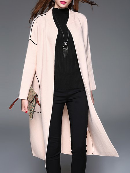 Wool Blend Elegant Long Sleeve Pockets Knitted Cardigan