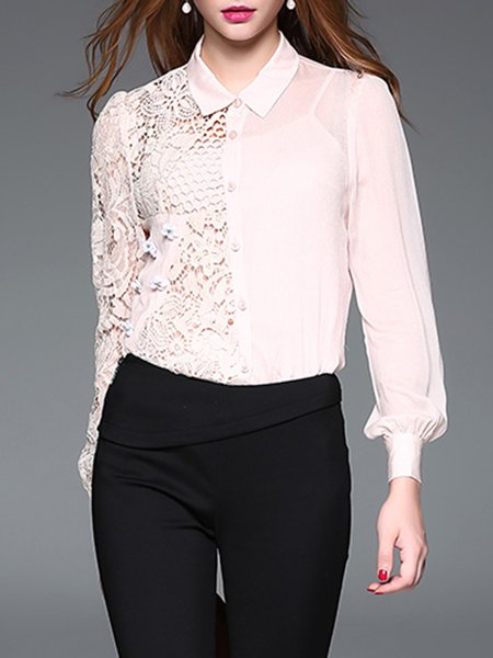 Pink Pierced Long Sleeve Solid Blouse With Camis