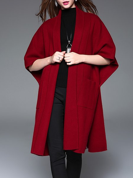 Wine Red Wool Blend Casual Buttoned Slit Knitted Cardigan