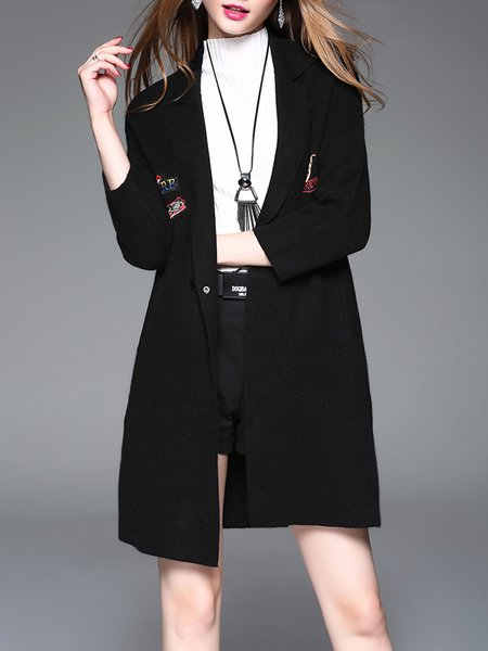 Wool Blend Embroidered Lapel 3/4 Sleeve Elegant Knitted Coat