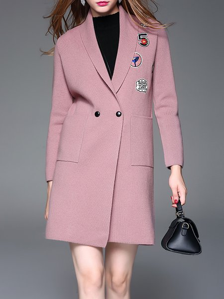 Pink Knitted Paneled Elegant Wool Blend Coat