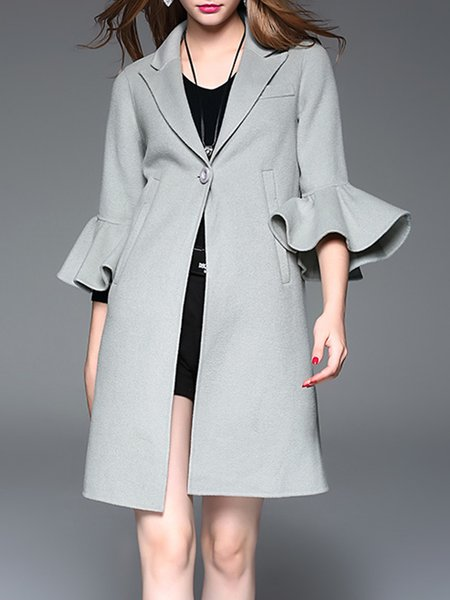 Wool Blend Frill Sleeve Buttoned Solid Elegant Coat