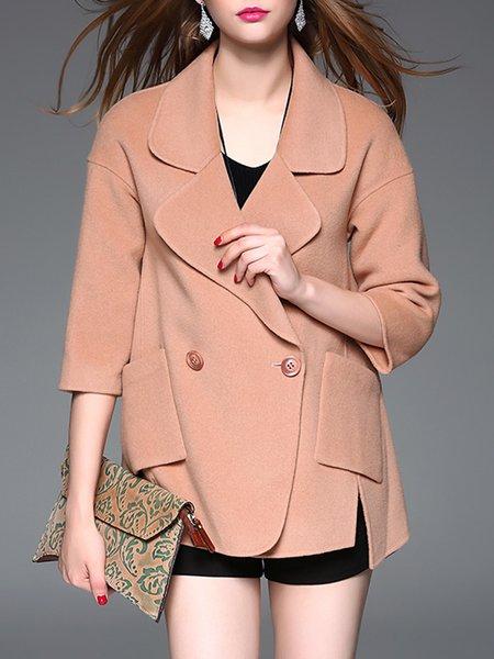 Elegant Asymmetrical 3/4 Sleeve Wool Blend Coat