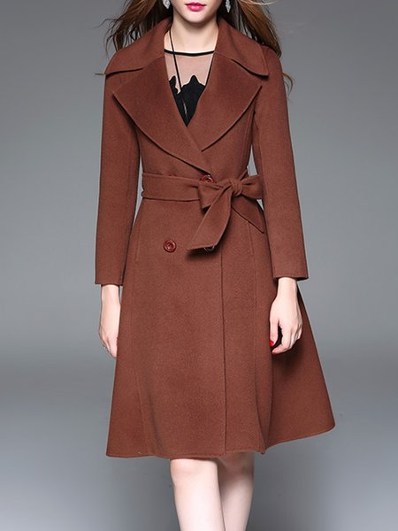 Rust A-line Wool Blend Elegant Lapel Coat With Belt