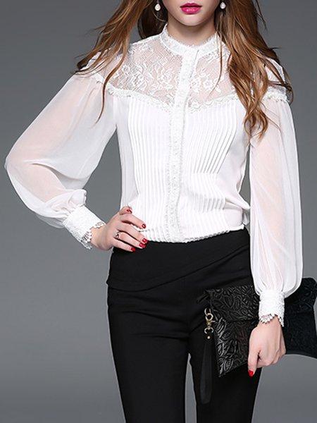 White Long Sleeve Lace Paneled Bodysuit