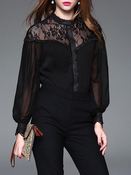 Long Sleeve Elegant Solid Paneled Lace Bodysuit