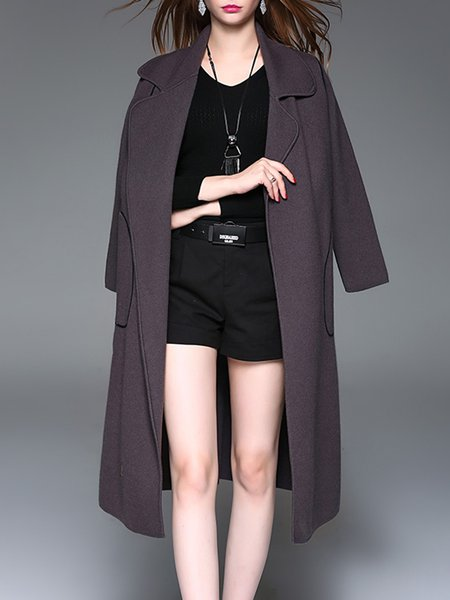 Lapel Long Sleeve Elegant Color-block Wool Blend Cardigan