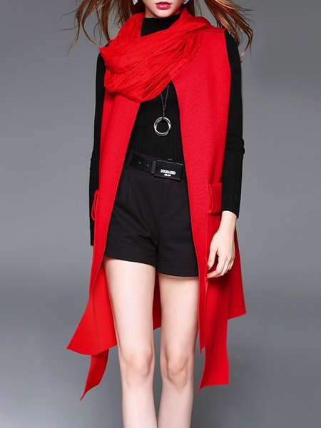 Red Asymmetrical Sleeveless Pockets Solid Vests And Gilet With Scarf
