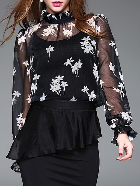 Frill Sleeve Elegant Floral Blouse With Camis