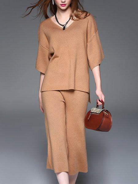 Khaki Half Sleeve Slit Plain Wool Blend Jumpsuit