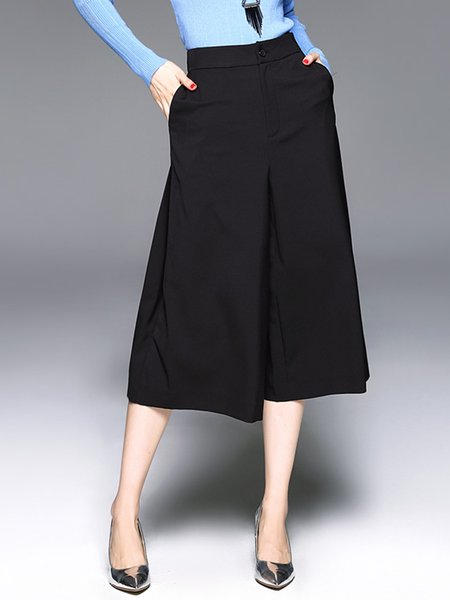 Black Cotton-blend Pockets Casual Wide Leg Pants