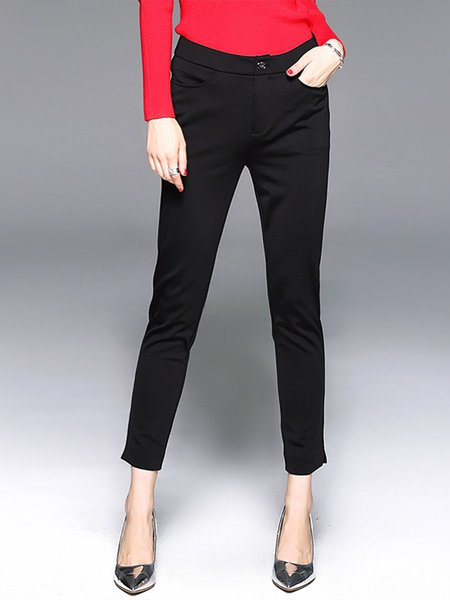 Black Sheath Solid Simple Straight Leg Pants
