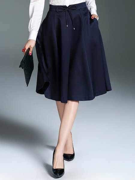 Navy Blue Solid Casual Bow Midi Skirt