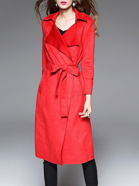 Red Lapel Suede Elegant Solid Coat With Belt
