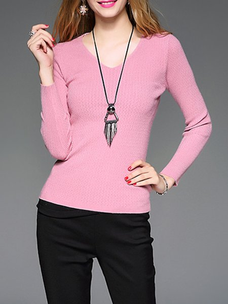 Long Sleeve V Neck Angora-blend Casual Sweater