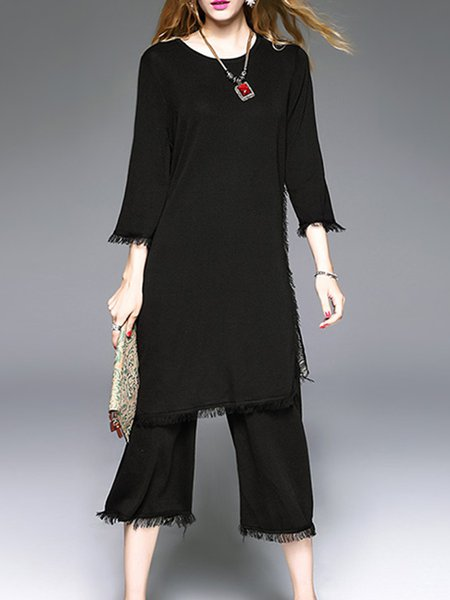 Black Fringed Two Piece Knitted Crew Neck 3/4 Sleeve Jumpsuit