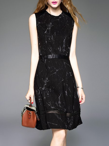 Black A-line Cotton-blend Paneled Printed Sleeveless Midi Dress
