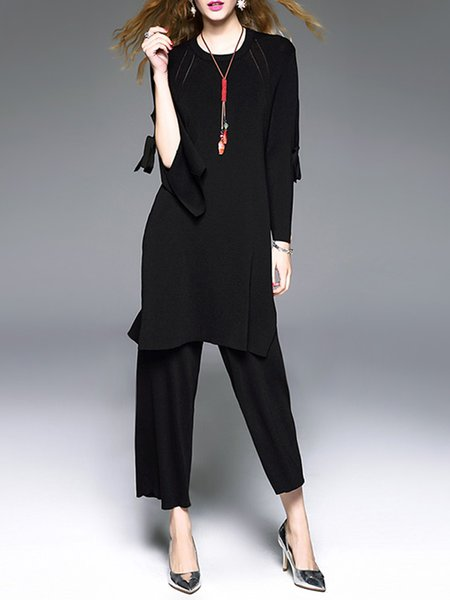 Long Sleeve Casual Bow Slit Two Piece Knitted Jumpsuit
