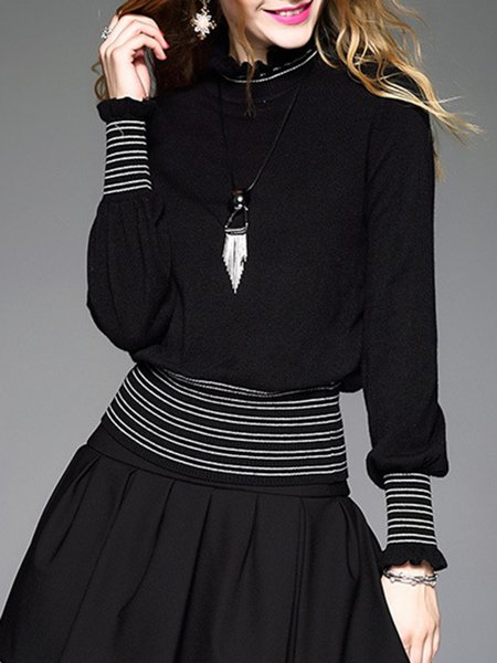 Black Knitted Casual Stripes Ruffled Long Sleeved Top