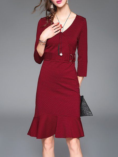 Elegant 3/4 Sleeve Polka Dots Flounce Midi Dress