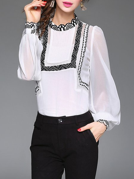 Pleated Ruffled Simple H-line Plain Embroidered Blouse With Camis