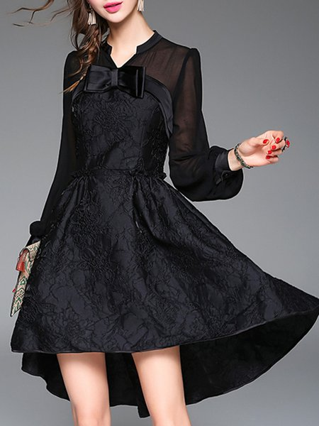 Black Long Sleeve V Neck Jacquard Swing Midi Dress