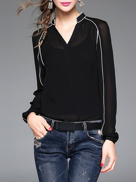 Long Sleeve Plain Binding Blouse With Camis