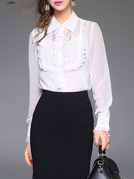 Guipure lace Ruffled Pierced Shirt Collar Long Sleeve Blouse