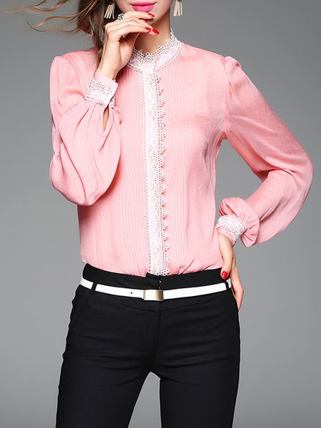Color-block Lace Ruffled Long Sleeve Elegant Blouse With Camis