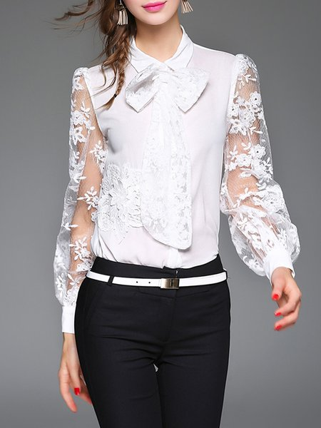 Long Sleeve Embroidered Bow Lace Shirt Collar Blouse