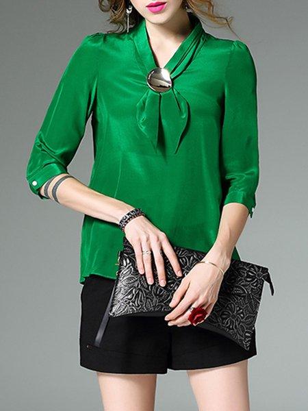 Green Silk 3/4 Sleeve V Neck Blouse